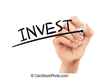 investir, escrito, mão