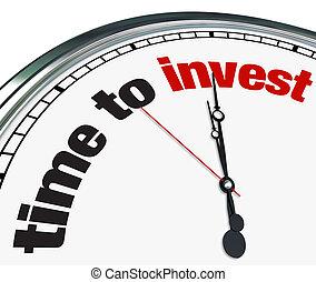 investir, temps, -, horloge