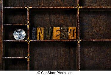 investir, type, letterpress, mot