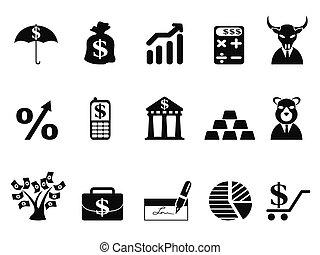 investire, e, finanza, icone, set