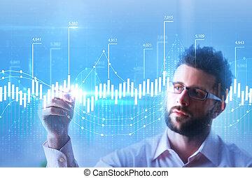 investissement, et, croissance financière, concept