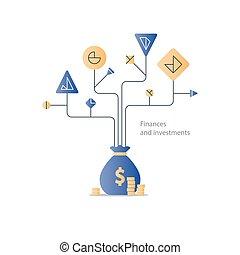 investissement, gestion, finance, business, démarrage, budget, arbre, plan, education