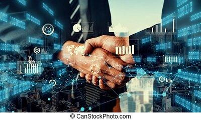 investissement, infographie, business, visuel, données, imaginatif, poignée main