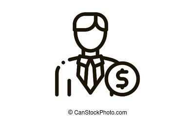 investisseur, argent, animation, icône