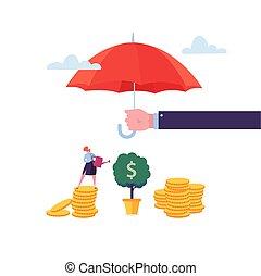 investment., abbildung, begriff, schirm, schutz, geld., aus, bewässerung, zeichen, baum., finanziell, frau, vektor, agent, haltend geld, sicherheit, versicherung