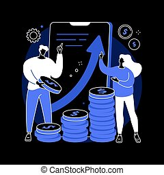 Investment abstract concept vector illustration. Investment benefit, financial adviser, stock broker, income dividends, interest, rental income, foreign currency exchange rates dark mode metaphor.