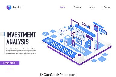 Investment analysis landing page vector template