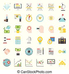 Investment and business analyze, flat design icon set
