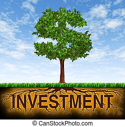 Investment and financial growth symbol with a tree in the...