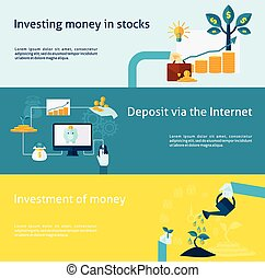 Investment horizontal banner with internet deposit flat elements set isolated vector illustration