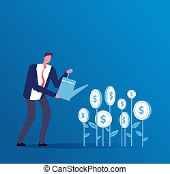 Investment business concept. Happy investor grows money investments. Business opportunity finance vector background