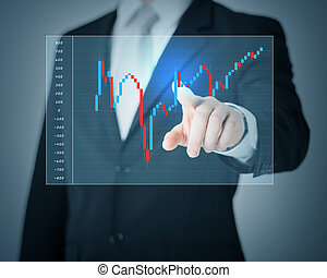 man hand pointing at forex chart
