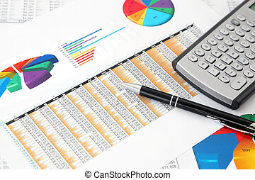 Investment Charts, Calculator and P - Calculator and Pen on...