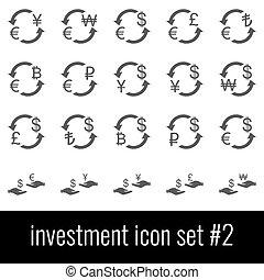 investment., cinzento, jogo, ícones, experiência., 2., branca, ícone