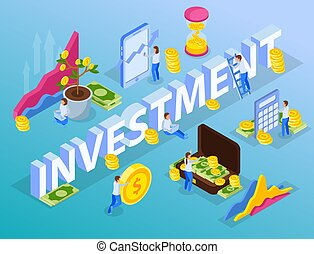 Investment Coins Isometric Composition