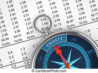 A conceptual image for financial and business genre. A compass that can show you the money and the profit.