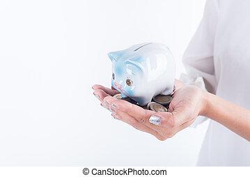 investment., concept, économie, bank., business, main, porcin, tenue, monnaie, finance