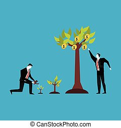 Investment concept. Business people watering and collecting profit plant.