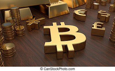Investment concept. Golden bitcoin symbol and coins. 3D rendered