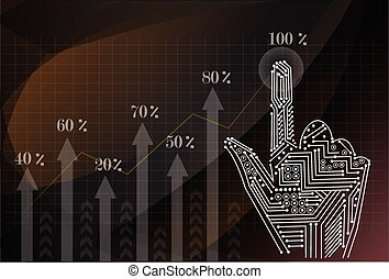 Investment concept,businessman with financial symbols coming fro