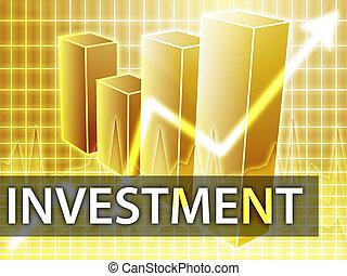Investment finances illustration of bar chart diagram