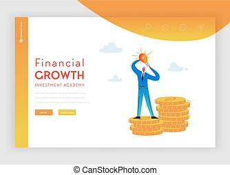 Investment Financial Growth Landing Page Template. Flat Businessman Character with Money and Idea Light Bulb for Website or Web Page. Profit, Career, Salary. Vector illustration