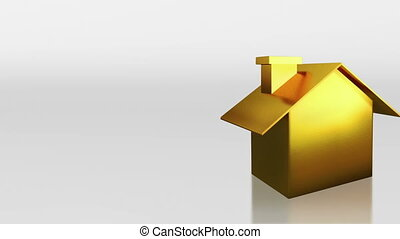 investment gold house open signage - the house graphic 3d...