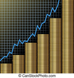 Chart of investment and economic growth as graph above stacks of gold coins