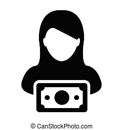 Investment icon vector female user person profile avatar...