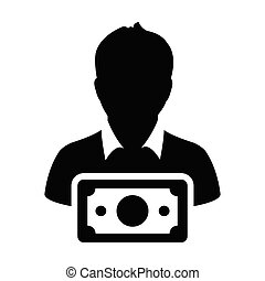 Investment icon vector male user person profile avatar with...