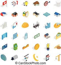 Investment icons set, isometric style