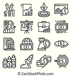 Investment icons set. Money, finance, banking illustration