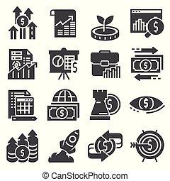 Investment icons set. Money, finance, banking illustration