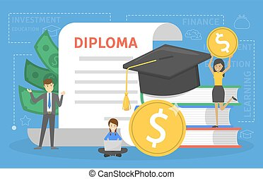 Investment in education concept. Saving money for study in...