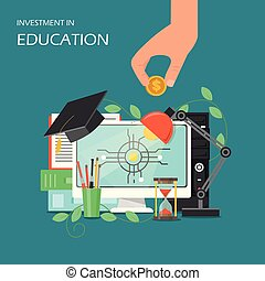 Investment in education concept vector flat illustration....
