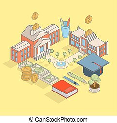 Investment in education concept vector flat isometric...