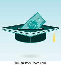 Investment in education, graduate hat, a dollar bill
