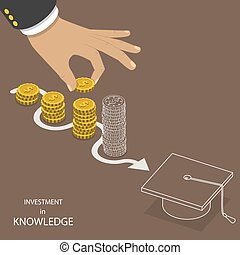 Investment in knowledge flat isometric vector. - Investment...