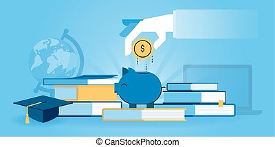 Flat line design website banner of investment in knowledge, student loans, scholarships. Modern vector illustration for web design, marketing and print material.