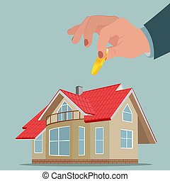 Investment in property, funds for house, vector illustration