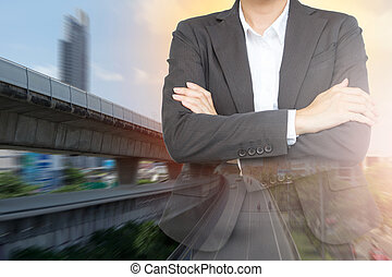 Investment in transportation concept. Business woman with Sky train background.