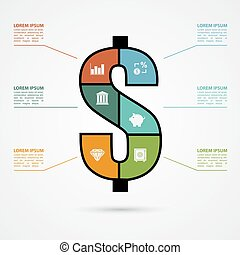 infographic template with dollar sign and finace icons, finance, investment concept