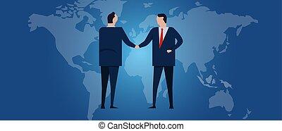 investment., large, partnership., negotiation., relation, business, diplomatie, pays, global, map., accord, drapeau, international, mondiale, constitué, handshake.
