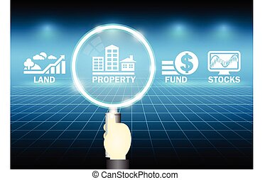 Investment - Magnifier and investment marks on dark...