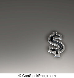 investment - metal dollar symbol with riveted frame border -...