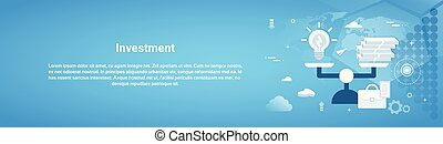 Investment Money Business Horizontal Web Banner With Copy Space