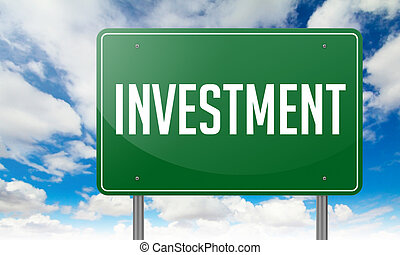 Investment on Green Highway Signpost.