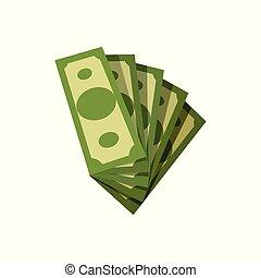 investment., płaski, pojęcie, finansowy, usa., powodzenie, dolar, zielony, albo, pieniądze., amerykanka, wektor, banknotes., waluta, bills., papier, projektować, piątka, bankowość, miłośnik, bogactwo