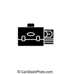 Investment portfolio black icon concept. Investment portfolio flat vector symbol, sign, illustration.