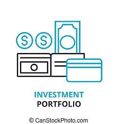 investment portfolio concept , outline icon, linear sign, thin line pictogram, logo, flat illustration, vector